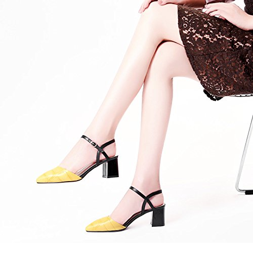XY&GKBaotou Sandales femme sandales talon en été boutons mot sandales en peau de mouton Sandales Sandales femme a souligné, confortable et belle 37 yellow