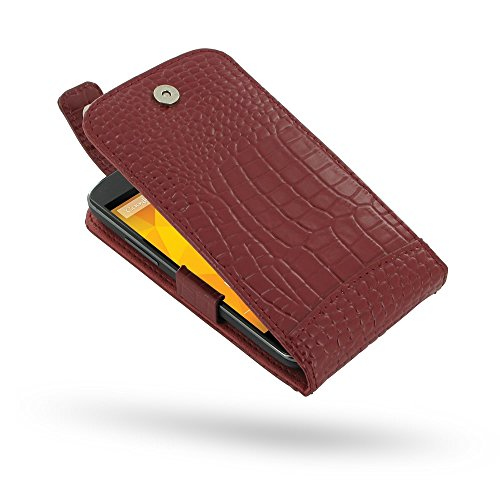 PDair Handarbeit Leder Hülle - Leather Flip Top Case for Samsung Galaxy Grand Duos GT-i9082 GT-i9080 (Red Crocodile Pattern)