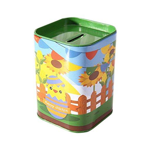 Igemy Metall Süßigkeiten Trinket Zinn Schmuck Piggy Bank Münze Lagerung Square Box Case (D) (Square D-box)