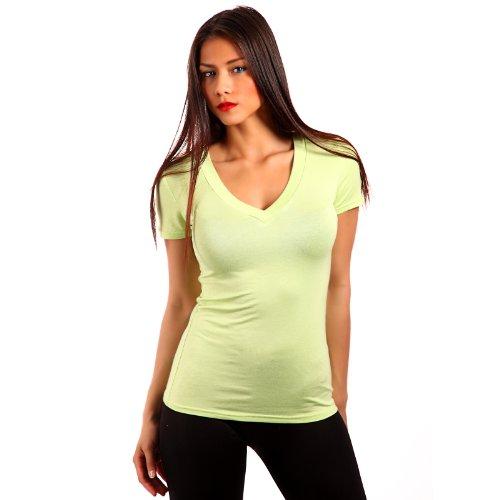 Young Fashion Strech Basic T-Shirt V-Ausschnitt Shirt Damen Uni 34-40 Hellgrün