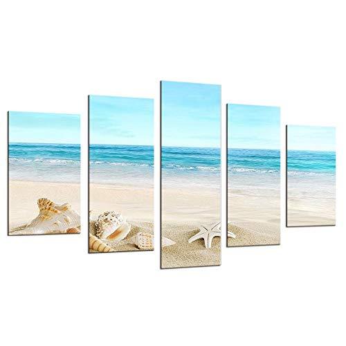 WEMUR 5 Teile/los Wandkunst Moderne Druck Leinwand Gemälde Sea Beach Shell Fish Wandbilder Für Wohnkultur no_Frame_20X35_20X45_20X55cm