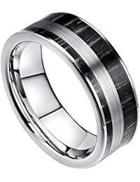 DOUX 8mm Mens Tungsten Carbide Ring Real Black Ebony Wood Inlay Wedding Band Brushed Center