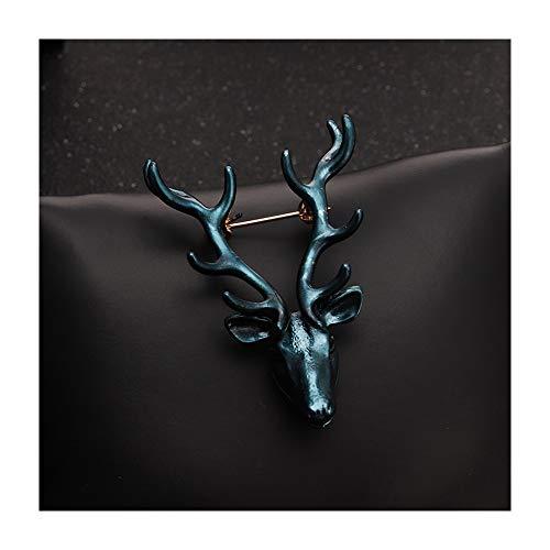 HongTeng Retro Herren Red Elk Head Brosche Corsage Female West Assembly Zubehör Paar Nadel (Color : A) -