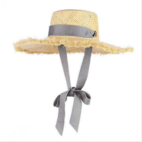 YI-SHAN Sonnenhut für Frauen, handgemachte Webart Raffia Strohhut für Frauen breiter Krempe Floppy Sonnenhut Sommer Hüte Lady Beach Cap mit Kinnriemen modischgrau (Ribbon Hut Krempe Mittlere)