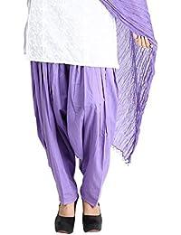 Funfabrics Women Cotton Solid Full Free Size Purple Plain Patiala Salwar Dupatta Set Cotton Patiala Dupatta