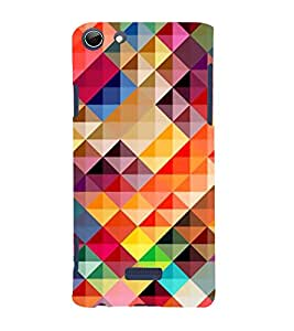 FUSON Abstract Background Colorful Triangle 3D Hard Polycarbonate Designer Back Case Cover for Micromax Canvas Selfie 3 Q348