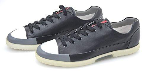 Prada Herren Turnschuhe Freizeitschuhe Sneaker SCHWARZ/WEIß Leder Art. 4E2486 6 (EU 40) Nero+Acciaio - Black+Steel