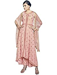 Style New Peach Embroidered Party Wear Attractive Look Stylish Fancy Designer Dress