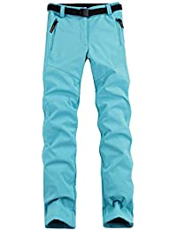 Juqilu Aire Libre Pantalones Mujer Impermeables Pantalones de Senderismo Pantalones Softshell Pantalones de Trekking Pantalones de Montaña Transpirable Fleece Lined Pantalones S-3XL
