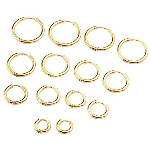 Zysta Piercingschmuck 4Paar 18G 8-20mm Herren Damen Huggie Hoop Ohrringe Creolen Piercingset aus Hypoallergen Edelstahl Ohrstecker Ohrpiercing Set Gold (Gold Hoop Ohrringe)