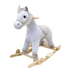 WJMLS Rocking Horse Trojan with Music Rocking Cradles, Early Childhood Education, Educational Toys, Horse   4