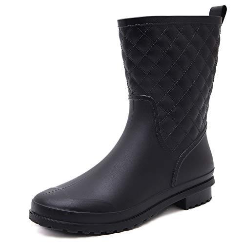Pastaza Botas de Agua Mujer Botas para la Lluvia Impermeables Botas de Caucho Goma Negro,37