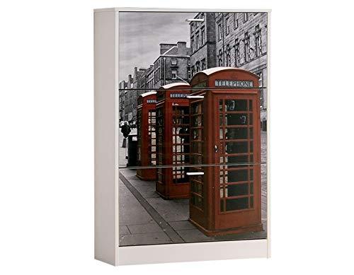 Brico Practic Zapatero Decorado de Tres trampones Modelo London melamina Blanca 750x1200x240 mm