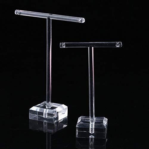 2 teile/satz Durchsichtigen Kunststoff Ohrringe Schaufenster Display T Bar Ständer Halter Veranstalter Schmuck Kleiderbügel Display Rack Kit