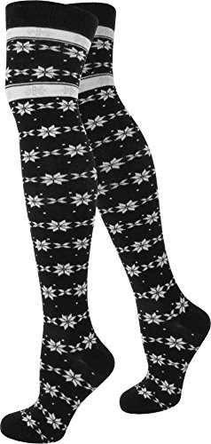 normani® Damen Overknees Über-Knie Strümpfe geringelt in verschiedenen Farben Farbe Star/Design