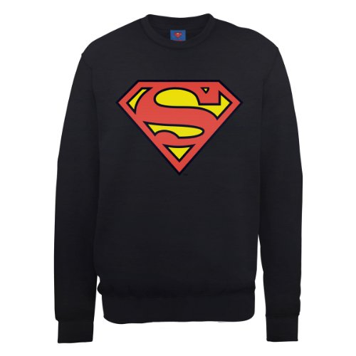 DC Comic Herren Sweatshirt Dc0000666 DC Comics Official Superman Shield Schwarz (Black)