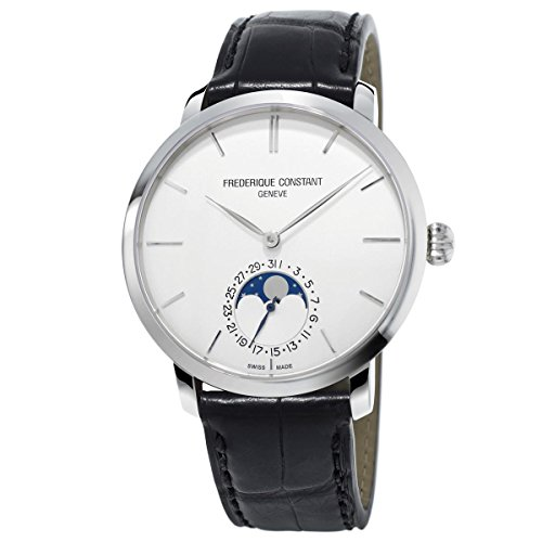 Frederique Constant Men's Manufacture Slimline Moonphase 42mm Black Steel Case Automatic Watch FC-705S4S6