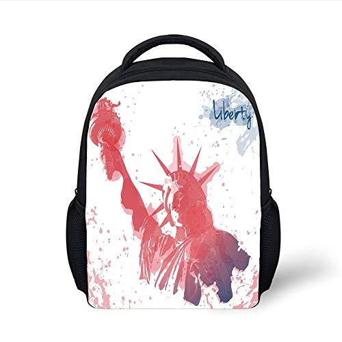 4th of July Decor,Star Figure in US Flag Colors Over Wooden Planks Holiday National Image,Dust Blue Plain Bookbag Travel Daypack ()
