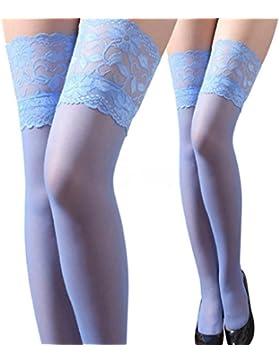 Koly_Womens Top in pizzo in silicone Banda alta della coscia calze collant