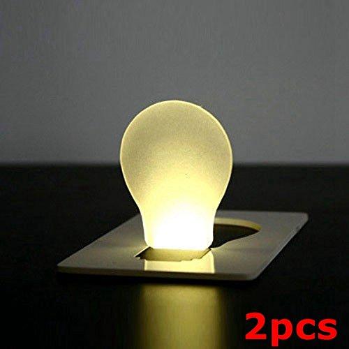 2pcs Portable Lumire Card Lampe LED Pocket Wallet Purse Lumire d'urgence