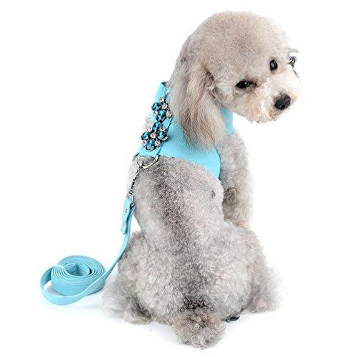 SELMAI Strasssteinen Hundegeschirr weiches Wildleder für kleine Haustiere Welpen Hunde Katzen Mädchen Weste Halsband Leine Set verstellbar kein Ziehen Chihuahua Yorkie Blau XL -