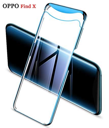 ZSCHAO Oppo Find X transparent 360 Grad Hülle Slim Ultra Dünn stossfest Stoßfest +Panzerglas Handyhülle Oppo Find X Hülle Hard Case hart Hybrid Matt Schutzhülle Cover für Oppo Find X (Blau Plating)