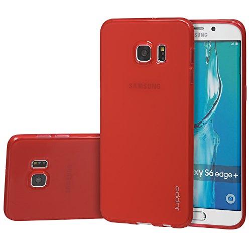 Juppa® Samsung Galaxy S6 Edge Plus 5,7 Zoll Smartphone TPU Silikon Tasche Hülle Schutzhülle mit LCD displayschutzfolie und Mikro-Reinigungstuch - Pink Rot