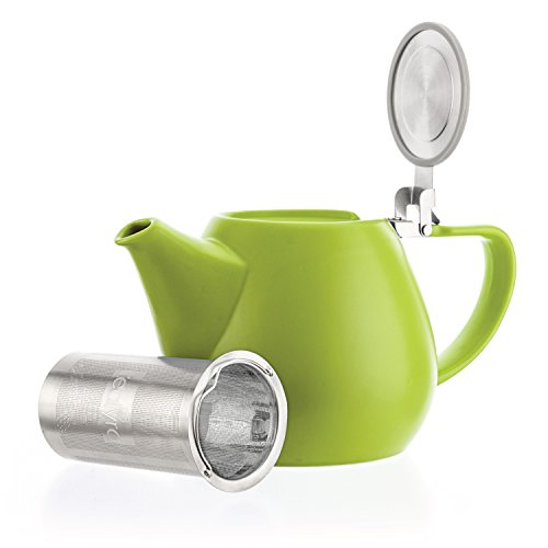 Tealyra - JOVE Porcelain Large Teapot Lime - 1000ml (3-4 Cups) - Japanese Made - High Quality - Stainless Steel Lid and Extra-Fine Infuser to Brew Loose Leaf Tea - 34-Ounce