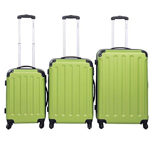 3tlg. Set. Reisekoffer Hartschalen-Kofferset Rollkoffer Trolley in XL-L-M ABS Farbewahl (grün)