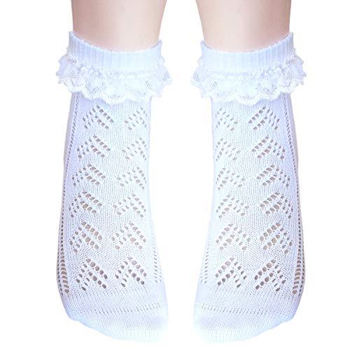 JHosiery Mädchen Pointelle Spitze Socken nahtlose Zehe für empfindliche Füße (23-26, 2 Paar Weiß) - Weiße Baumwolle Mit Pointelle