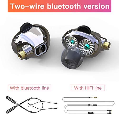 CHENKLE Bluetooth Kopfhörer Dual Moving Coil HiFi-Kopfhörer 2 in 1 5.0 Bluetooth-Funkkopfhörer + kabelgebundene Kopfhörer mit Mikrofon 2 abnehmbare Kabel Earbu, M2-2Line
