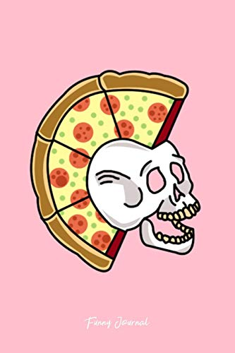 Funny Journal: Dot Grid Journal - Pizza Mohawk Rock Hair Skull Skeleton Rocker Halloween Gift - Pink Dotted Diary, Planner, Gratitude, Writing, Travel, Goal, Bullet Notebook - 6x9 120 page Pizza Rocker