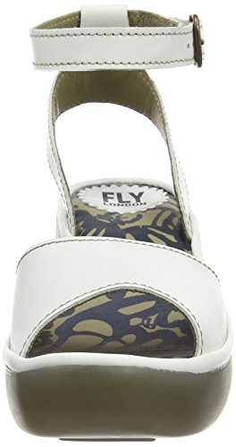 FLY London BIBI612FLY, Sandales Compensées femme Blanc (Rug Off White)