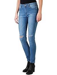 KRISP Damen Stretch Skinny Jeans Ripped Hose mit Löchern Zerissene Bleistifthose