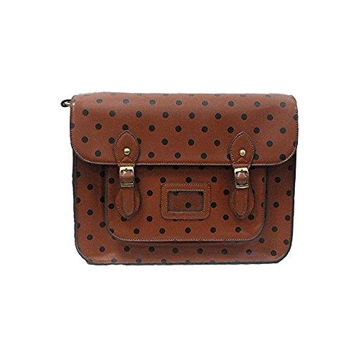 Yasmin Bags Cartella/borsa a tracolla con stile vintage, a pois, con portachiavi e lucchetto incluso, 34,3cm Brown 12345BD