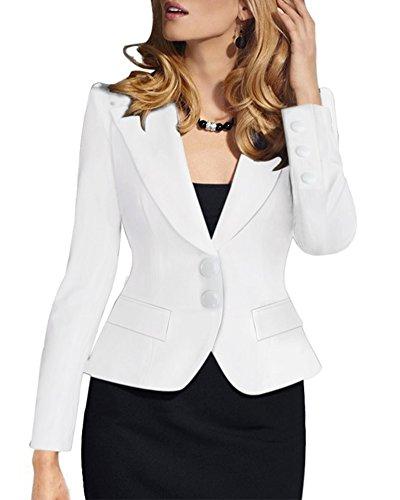 Mujer Elegant Blazers Abrigo OL Casual Cardigans Chaqueta Coat Cloak Otoño Outwear Blanco M