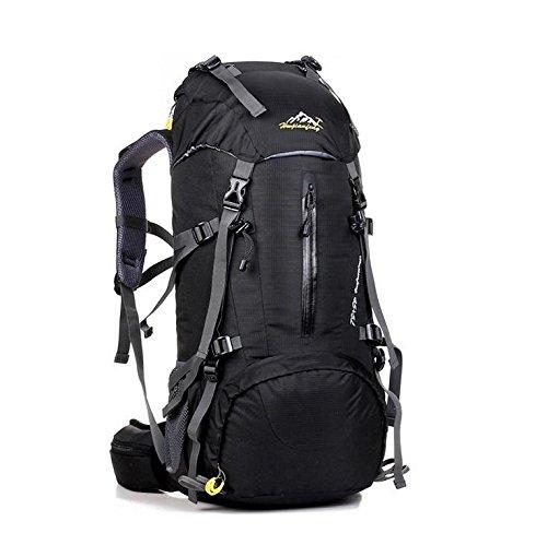LINGE-Outdoor-Bergsteigen Tasche lange große Kapazität wasserdichter Rucksack camping Zelte für Männer und Frauen 50L Black