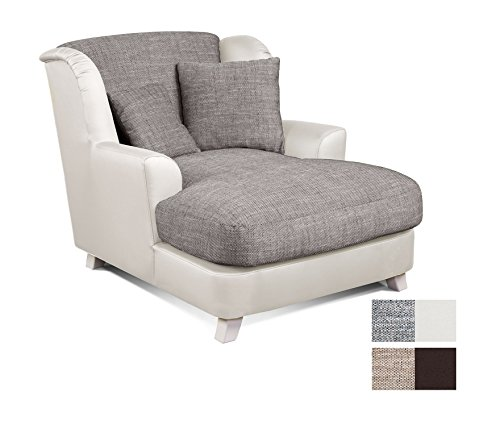 Cavadore XXL-Sessel Assado -  Zweifarbiger Polstersessel in grau/weiß mit Holzfüßen