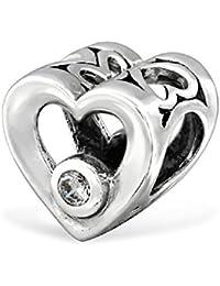 So Chic Joyas - Abalorio Charm Corazón Circonita - Compatible con Pandora, Trollbeads, Chamilia, Biagi - Plata 925
