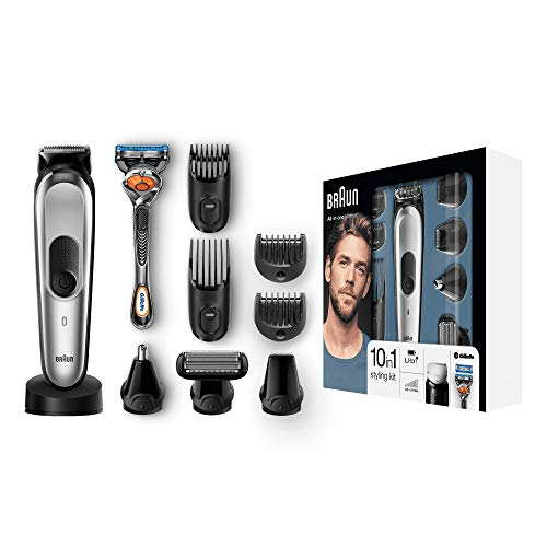 Braun 10-in-1 Multi-Grooming-Kit MGK7020 - Barttrimmer und Haarschneider, Körperhaartrimmer, Ohr- und Nasenhaartrimmer, Präzisionsscherkopf und Präzisionstrimmer, Edelstahl-Trimmerkopf, schwarz/silber