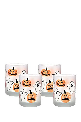 Culver Frosted Halloween DOF Double Old Fashion Glass (Set of 4), 14 oz, Orange by Culver Frosted Old Fashion Set