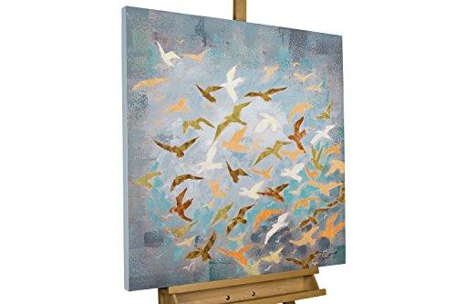 Vogel Leinwand Kunst (KunstLoft® Acryl Gemälde 'Flying Birds' 80x80cm | original handgemalte Leinwand Bilder XXL | Vögel Blau Gelb Vogelschwarm Deko | Wandbild Acrylbild moderne Kunst einteilig mit Rahmen)