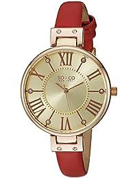 SO & CO New York para mujer reloj infantil de cuarzo con diseño de rayas de dorado esfera analógica y rojo correa de piel 5091,4