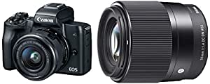 Canon EOS M50 24.1MP Mirrorless Camera (Black) with EF-M 15-45 is STM Lens + Sigma 30mm f/1.4 DC DN Contemporary Lens