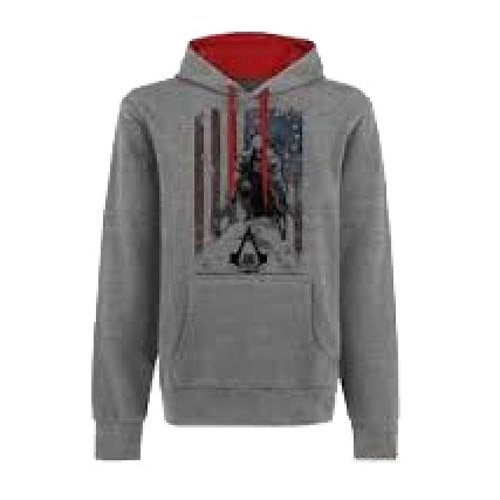 Price comparison product image Bioworld Merchandising Assassin's Creed III Flag Hoodie - Grey - Large