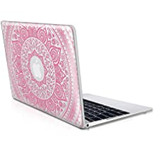 """kwmobile Funda transparente para Apple MacBook 12"""" con Diseño sol indio - Funda protectora portátil funda transparente en rosa claro transparente"""