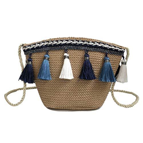 Marjorie luxuriös Mädchen Tassel Chain Shoulder Beach Bag Straw Summer Bucket Bag(None Blown) -