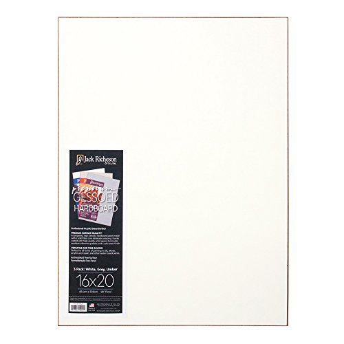 Richeson Pack of 3 White, Gray, Umber 16 X 20 Gessoboard (1791620) Jack White Iii