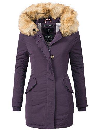 Marikoo Damen Mantel Wintermantel Winterparka Karmaa XS-XXXXXL (vegan hergestellt) Violett Gr. S