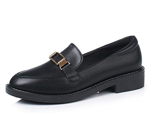 Patent Chunky Heel Sandal (HN Shoes Damen Schlüpfen Clever Büro Schule Mädchen Schwarz Patent Leder Niedrig Block Hacke Pumps Gericht Schuhe, schwarz, EUR 38/UK 6)